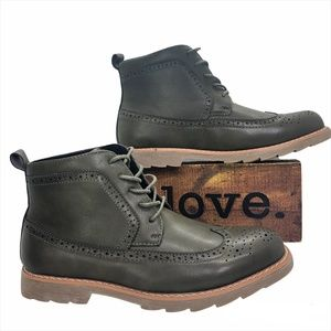 GIRALDI Milan Longwing Oxford Olive Ankle Boots Size 9
